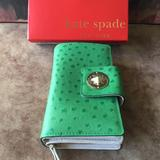 Kate Spade Bags | Kate Spade Nib Authentic Green & 14k Gold-Plated Hardware Leather Wallet | Color: Gold/Green | Size: Read Description