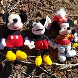 Disney Accessories | 3 Disney Vtg. Collectable Mickey'S Plush Toys | Color: Black/Red | Size: Os
