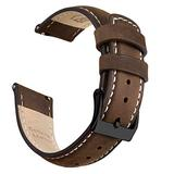 Ritche 22mm Leather Watch Band Quick Release Watch Bands for Men Women Compatible with Timex Expedition Fossil Seiko Saddle Brown Watch Strap White Stitching