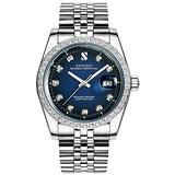 PASOY Men Gold Watch Red Dila Waterproof Sapphire Diamonds Srystal Stainless Steel Bracelet Watches (Silver with Blue Dial)