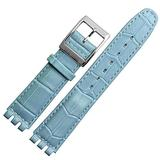 Choco&Man US Swatch Litchi Grain Cow Leather Stainless Steel Buckle Watch Band Strap with Tool Watch Width 17mm Replacement for Men's Swatch (Blue(Bamboo Pattern), 17mm)