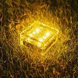WUERLIN Solar Garden Lights Outdoor, Glass Brick Ice Cube Solar Powered Outdoor Lights Waterproof Landscape Lighting for Pathway Walkway Patio Yard & Lawn (Yellow)