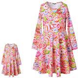 Jxstar Matching Girls& Doll Donut Dresses Long Sleeve Fall Winter Doughnut Dress,Size 6 7
