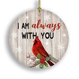 """CZHEZEE I Am Always with You - Christmas Ornament - Holiday Ceramic Keepsake 3"""" Flat Circle Porcelain - Ceramic Disk - Christmas Tree Ornament - Gifts Idea for Christmas Keepsake - Holidays Presents"""