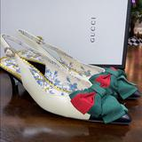 Gucci Shoes   Gucci Jane Slingback Ribbon Pumps Size 34 4   Color: Green/Red   Size: 4