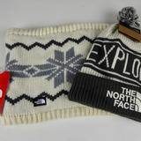 The North Face Accessories | North Face Chunky Knit Tube Scarf & Pompom Beanie | Color: Gray/White | Size: Os