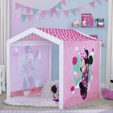 Delta Children Disney Minnie Mouse 3.77' x 3.77' Indoor Solid Wood Playhouse Wood in Brown/Pink, Size 47.75 H x 45.25 W x 45.25 D in   Wayfair