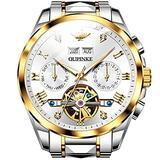 Automatic Watch for Men Self Winding Watches Tourbillon Skeleton Watches Mechanical White Face Wristwatches Business Luxury Waterproof Luminous Sapphire Crystal Swiss Movement Man Wrist Watches