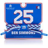 """Rastaclat Ben Simmons Philadelphia 76ers Braided Player Name & Number Team Color Bracelet"""