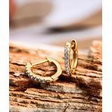 Barzel Women's Earrings - Gold-Plated Channel-Set Huggie Earrings with Swarovski Crystals