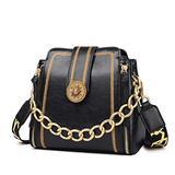 LAORENTOU Cowhide shoulder Bags for Women Leather Handbag Purses With Chain Strap, Ladies 2 Pcs Set Crossbody Bags (Black)