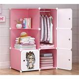 Shefure Children Furniture Kid Wardrobe Kids Cartoon Storage Cabinet Simple Assembly Resin Closet guarda Roupa Infantil Kids Furniture Bedroom Armoires (Color : Pink)