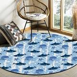 Cute Ocean Blue Area Rug Round Rugs 4ft, Fish Shark Octopus Starfish Collection Area Runner Circle Rug (Non-Slip) Carpets Kids Living Room Bedroom Indoor Outdoor Nursery Rugs Décor