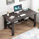 Modern Computer Desk, Large Workstation Office Desk Computer Table Study Writing Desk for Office Home, with Thick Leg,Industrial Style, Sandalwood Board (Black)