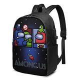 Jiaolun among us game USB backpacks, fashion backpacks, Interesting school bag, men's and women's computer bags, large-capacity travel backpacks