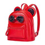 Women Kids Girls PU Leather Mouse Ear Bow Backpack Toddler Sequins Cartoon Cute Mini Travel Bag School Student Double Strap Shoulder Purse Small Book Bag Satchel Casual Rucksack Daypack A#Red