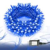 Protecu Christmas Lights 99ft 300 LED, Outdoor Christmas String Lights Plug in, 8 Lighting Modes with Timer, Christmas Tree Lights for Wedding, Party, Garden Decorations(Blue)