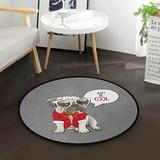 ALAZA Cool Dachshund Puppy Pug Dog with Glasses Round Area Rug for Living Room Bedroom 3' Diameter(92 cm)