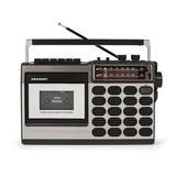 Crosley Electronics CT100 Cassette Decorative Radio in Gray, Size 7.67 H x 12.0 W x 4.13 D in | Wayfair CT100B-SI