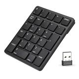 Number Pad Wireless, Havit USB Numeric keypad 26 Keys Portable Mini 2.4GHz Financial Accounting Rechargeable Number Keyboard for Laptop Desktop, PC, Surface Pro,Notebook (Black)