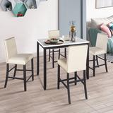Red Barrel Studio® Brelin 5 - Piece Counter Height Dining Set Wood/Upholstered Chairs in Black/Brown/White, Size 36.0 H in | Wayfair