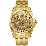 Bulova Shutton Automatic Gold Skeleton Dial Men's Watch 97A162