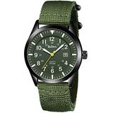 Mens Watches Waterproof Military Watches for Men Analog Tactical Wrist Watch Army Field Watches Work Watch Outdoor Casual Quartz Wristwatch Japanese Movement Nylon Band Black Green