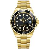 Mens Luxury Watches Rotatable Bezel Sapphire Glass Luminous Hand Quartz Silver Tone Stainless Steel Watch (All Gold/Black Dial)