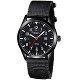 Mens Watches Waterproof Military Watches for Men Analog Tactical Wrist Watch Army Field Watches Work Watch Outdoor Casual Quartz Wristwatch Nylon Band Black