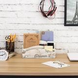 "One Allium Way® Leeroy Office Supply Desk Organizer, Wood in White, Size 6""H X 11""W X 4""D | Wayfair 000185CFFE694A8D9B2C2D3DD2860B3D"