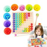 Wooden Board Bead Game Toy,Wooden Go Games Set Dots Shuttle Beads Board Games Rainbow Clip Beads Puzzle of Wooden Clip Beads Rainbow Toy Early Education Puzzle Board Game