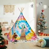 Asweets kids Indoor Fabric Triangular Play Tent w/ Carrying Bag Fabric in Blue/Gray/Yellow, Size 63.8 H x 43.3 W x 43.3 D in   Wayfair 10101238