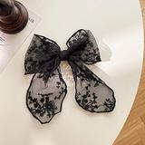 Hair Accessories for Girls Hair Clips White Black Lace Bowknot Elastic Hair Band Tie Handmade Large Bow Hair Clips Barrettes for Women Girls Ponytail Holder Hair Accessories