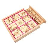 Wooden Sudoku Board Game with Drawer Chess Set Lattice Sudoku Puzzles Lattice Sudoku Game Chess Board Toy Matching Board Toy Logical Thinking Educational Toy for Children Adult Christmas Gifts (Pink)