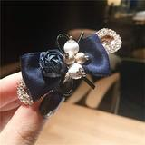 Hair Accessories for Girls Hair Clips Elegant Flower Pearl Ribbon Bow Hair Clips with Crystal Rhinestones for Women Hair Accessories Bowknot Hairpins Barrette Hair Accessories