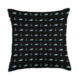 Waterskiing Love Skiing Gifts Black Pattern Water Ski Illustration Lover Gift Waterski Throw Pillow, 18x18, Multicolor