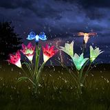 Solarmart Outdoor Solar Garden Lights - 2 Pack Solar Powered Lights with Lily Butterfly and Hummingbird, Multi-Color Changing LED Solar Flower Lights Decoration Light for Garden,Patio,Backyard