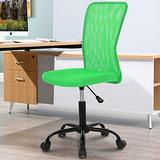 Home Office Chair Computer Chair Desk Chair Mid Back Mesh Chair Height Adjustable Small Office Chair, Modern Task Chair No Armrest Cheap Rolling Swivel Chair Student Office Chair with Wheels,Green