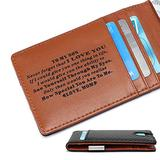 Minimalist Slim Money Clip Front Pocket Wallet for Son from Mom - Personalized Custom Engraved RFID Blocking Men's Carbon Fiber Bifold Wallets with Mini Metal Credit Card Holder for Birthday Christmas