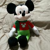 Disney Toys   Like New Christmas Mickey Mouse   Color: Green/Red   Size: Mickey 14.5 Inches Tall