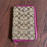 Coach Accessories | Coach Tablet Cover, Pink And Signature Brown | Color: Brown/Pink | Size: Equivalent To An Ipad Mini