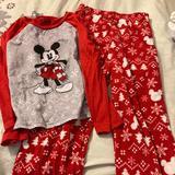 Disney Pajamas   Boys Disney Christmas Mickey Mouse Pajamas   Color: Red/White   Size: 8b