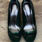 Nine West Shoes | Nine West Green Suede Pee Toe Heels | Color: Green | Size: 7.5
