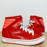 Adidas Shoes   Leather & Patent Leather Hi-Top Sneakers   Color: Red/White   Size: 12b