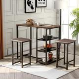 17 Stories 3 - Piece Counter Height Dining SetMetal/Upholstered Chairs in Black/Brown/Gray, Size 36.2 H x 23.6 W x 41.3 D in | Wayfair