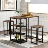 17 Stories Tro 3 - Piece Counter Height Dining SetWood/Metal in Black/Brown/Gray, Size 36.2 H x 23.6 W x 41.3 D in   Wayfair