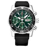 Revue Thommen Men's 17030.6522 'Air Speed' Green Dial Rubber Strap Chronograph Automatic Watch