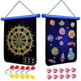 SKL Magnetic Dart Board for Kids, Toy Dart Game Set with 10 Magnetic Darts 10 Balls, Roll Up Reversible Dart Board, 2 Sided Target Game Outdoor Backyard Games for 5 6 7 8 9 10 Years Old