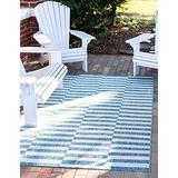 Unique Loom Striped Collection Modern Transitional Indoor and Outdoor Flatweave Area Rug, 6' 0 x 9' 0 Rectangle, Blue/Ivory