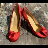 Kate Spade Shoes | Kate Spade Satin Red Rose Toe Bow Dress Heels 9.5 | Color: Red | Size: 9.5